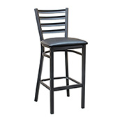 Ladder Back Barstool - Black