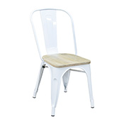 Pari's Metal Chair - White with Wood Seat