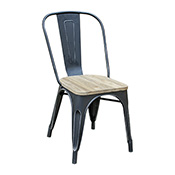 Pari's Metal Chair - Antique Black with Wood Seat