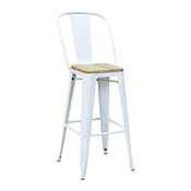 Pari's Barstool - White with Wood Seat