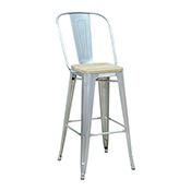 Pari's Barstool - Gun Metal with Wood Seat