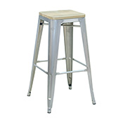 Pari's Stool - Gun Metal with Wood Seat