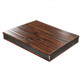 Rustic Pine with Metal Table Top