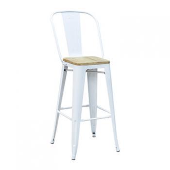 Pari's Barstool - White with Wood Seat
