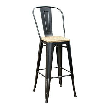 Pari's Barstool - Antique Black with Wood Seat