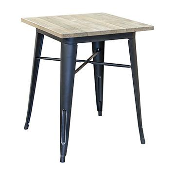 Pari's Table with Wood Top - Antique Black