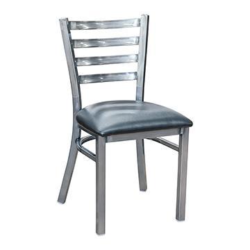 Ladder Back Metal Chair - Gun Metal
