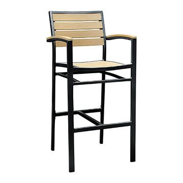 Miami Arm Patio Barstool - Black